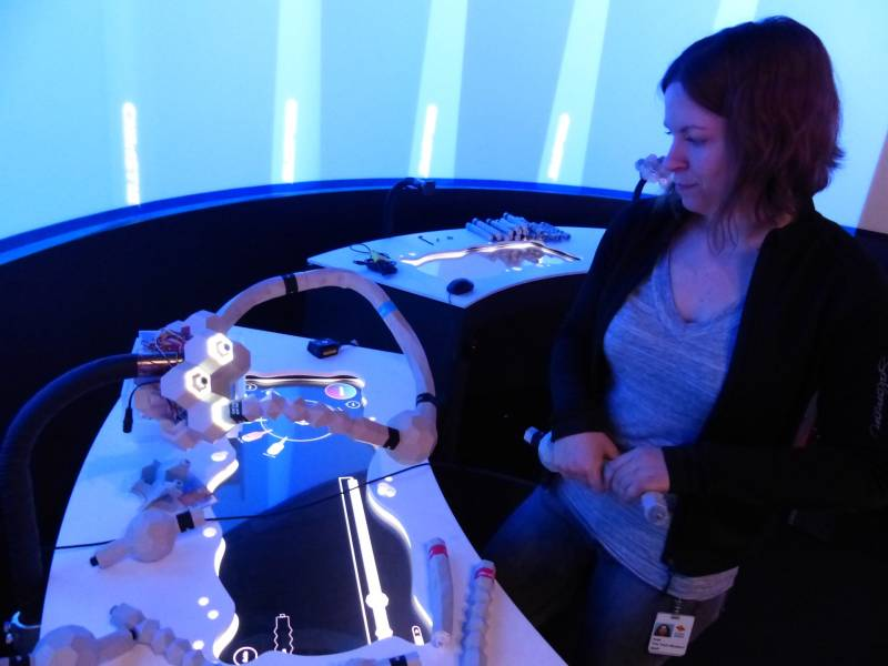 Anja Scholze, biotech experience designer at The Tech Museum of Innovation, builds the genome of her own virtual creature at the new exhibit, BioDesign Studio. The critter gets released into a virtual world where it interacts with other museum-created organisms.