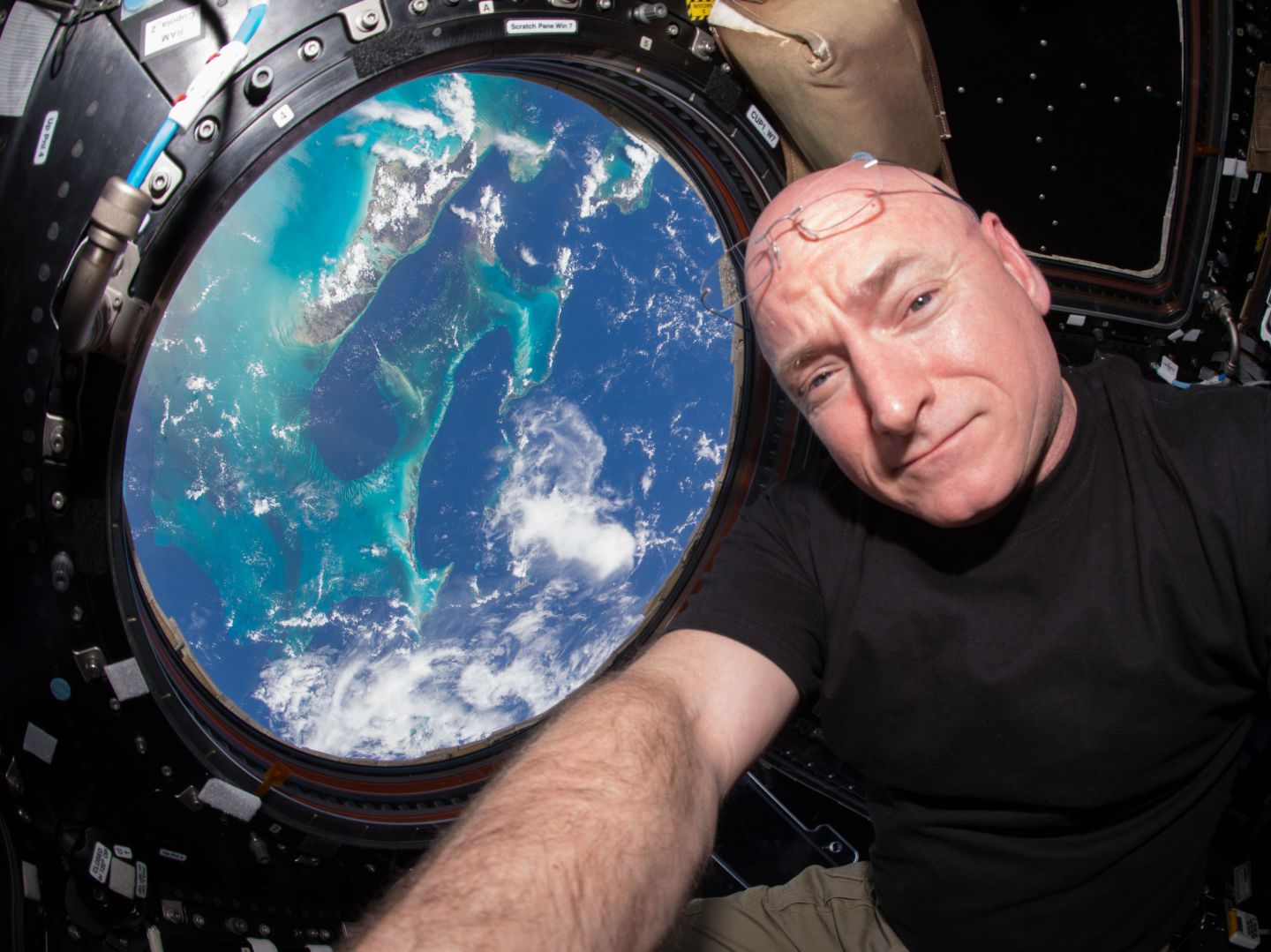 NASA astronaut Scott Kelly takes a selfie inside the cupola, a special module that provides a 360-degree view of Earth. Kelly and Russian cosmonaut Mikhail Kornienko have spent nearly a year aboard the International Space Station. NASA