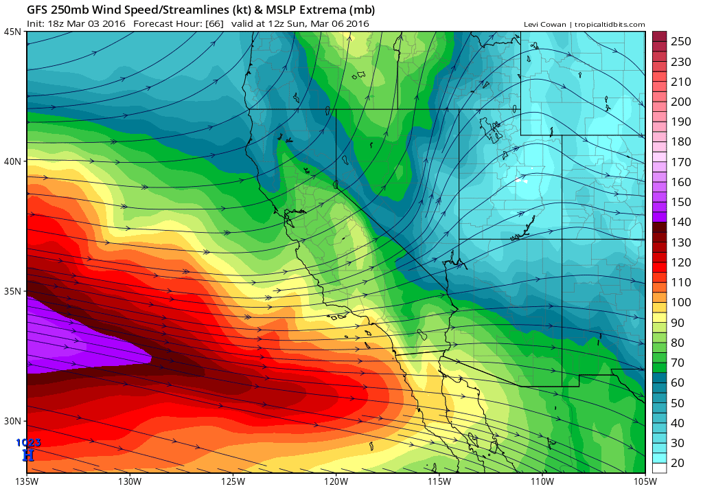 The jet stream will be in a favorable position for active weather across California this weekend.