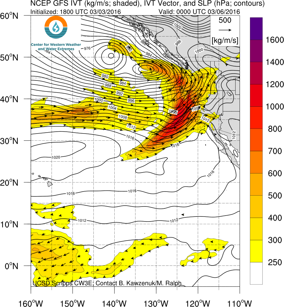 Water vapor fluxes associated with this weekend's atmospheric river will be impressive.