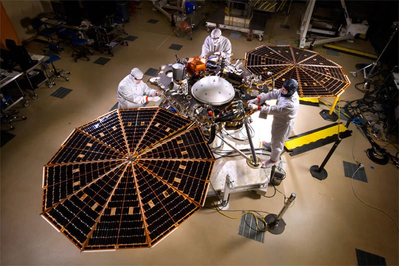 NASA's INSIGHT spacecraft in a clean room at Lockheed Martin Space Systems in Denver.