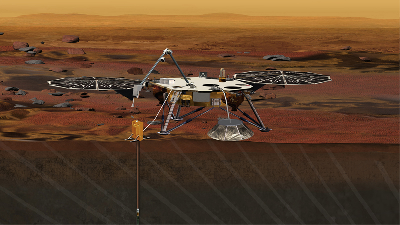 Artist concept of NASA's INSIGHT lander on Mars.