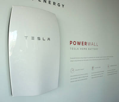 Tesla's home battery, designed to store solar energy for use at night.