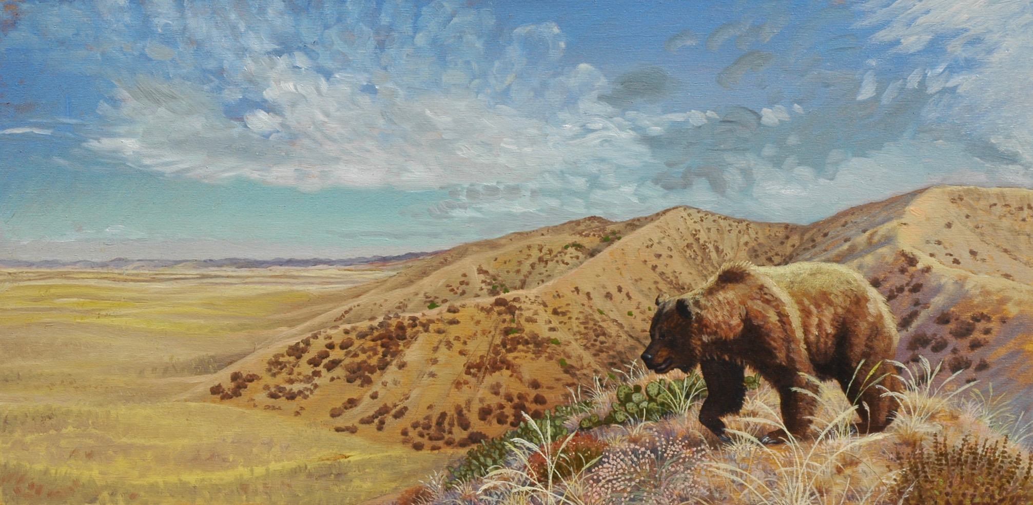 A California Grizzly prowls the San Fernando Valley before European settlement, as envisioned by painter Laura Cunningham.