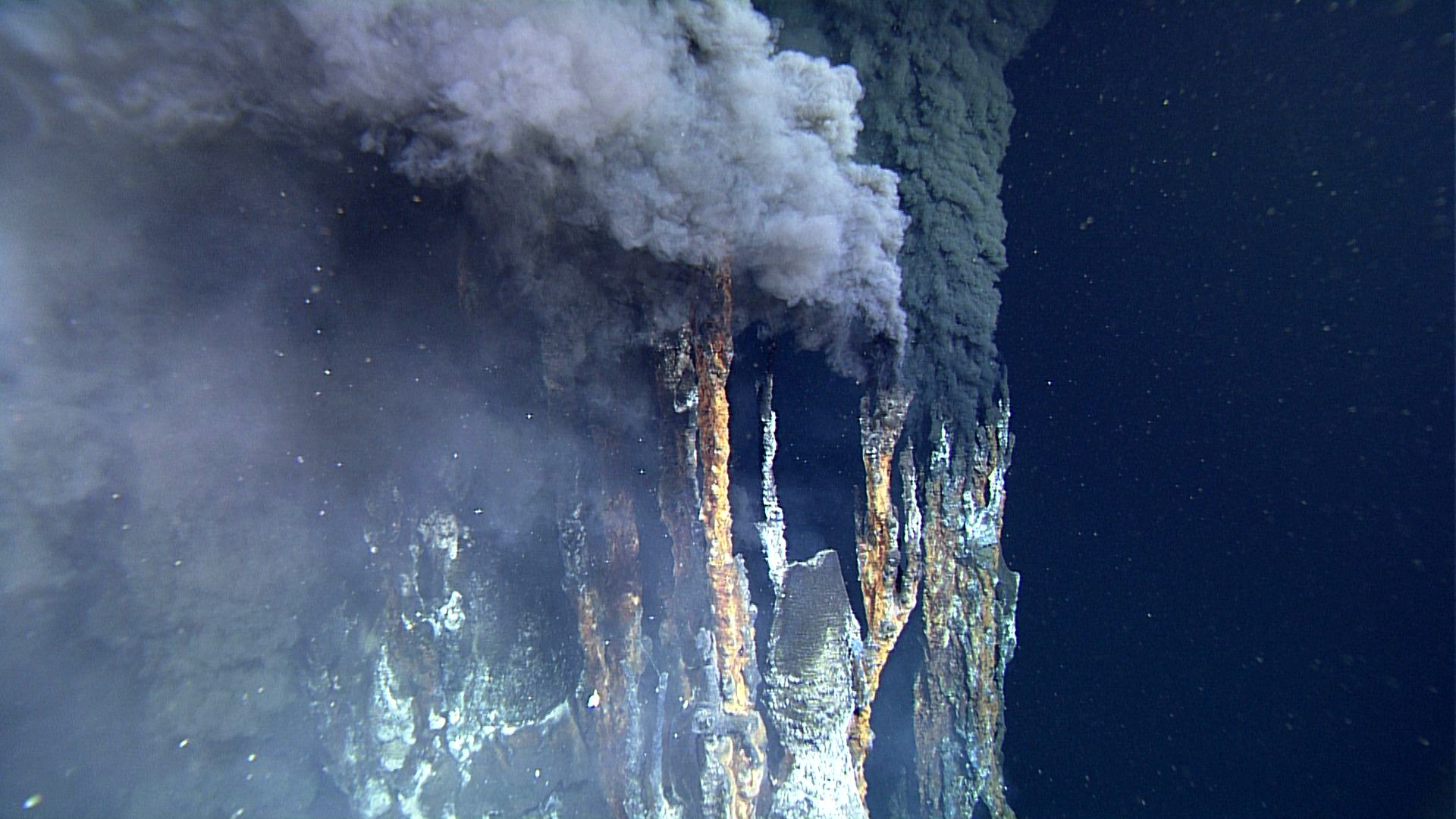 "This thermal vent or ""black smoker"" is located in the Gulf of California and spews mineral-rich water that's over 550 degrees Fahrenheit."