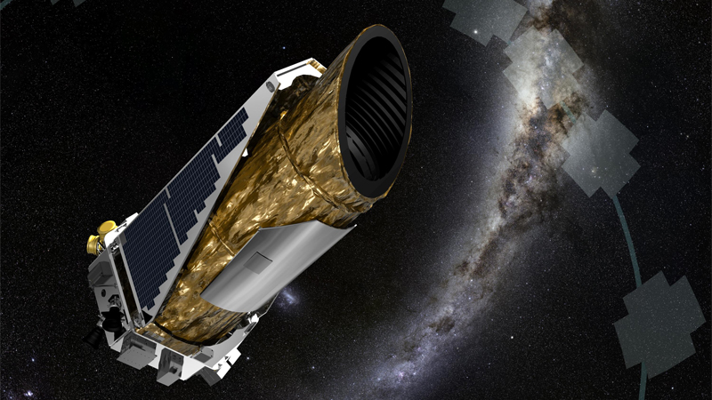 Artist concept of the exoplanet-hunting Kepler space telescope sweeping its focus across the sky in search of exoplanets using the gravitational microlensing technique.
