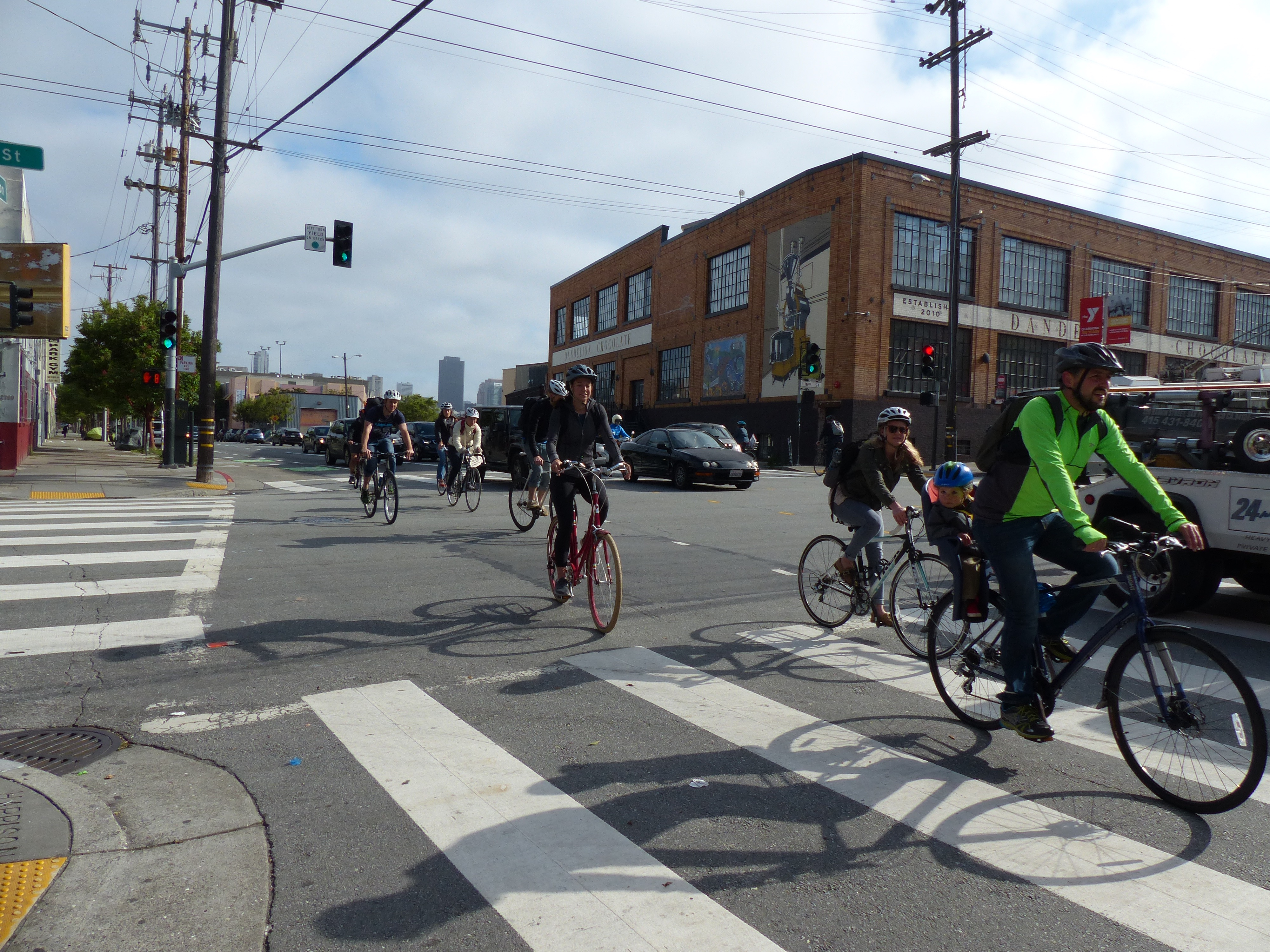 Morning commuters pedal through the Mission District in San Francisco on Bike To Work Day.