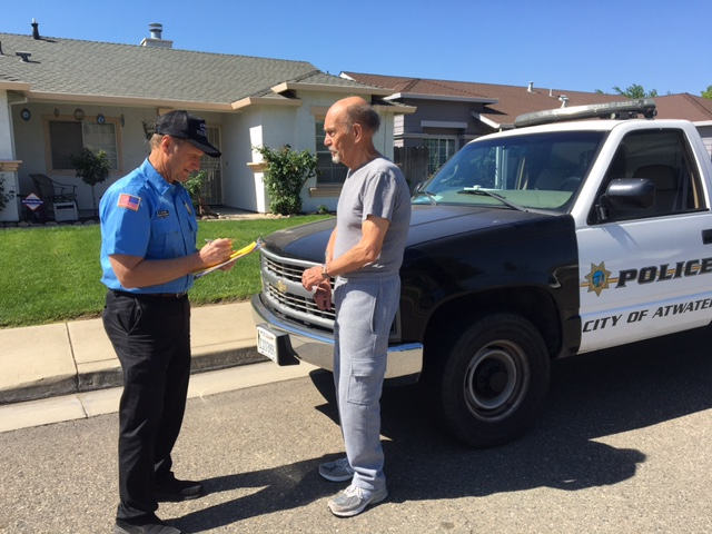 "Greg Olzack, a former mayor and city council member of Atwater, became a volunteer ""water cop,"" driving around the town to write citations for water wasters."