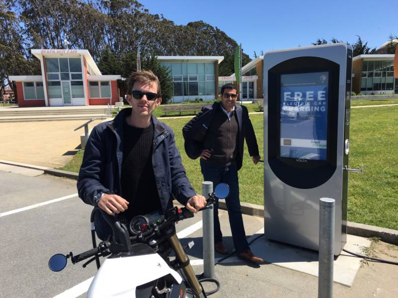 Scott Mercer and Abdellah Cherkaoui with the electric car charging service, Volta