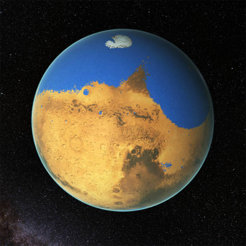 Artist concept of the ancient, water-covered Mars.