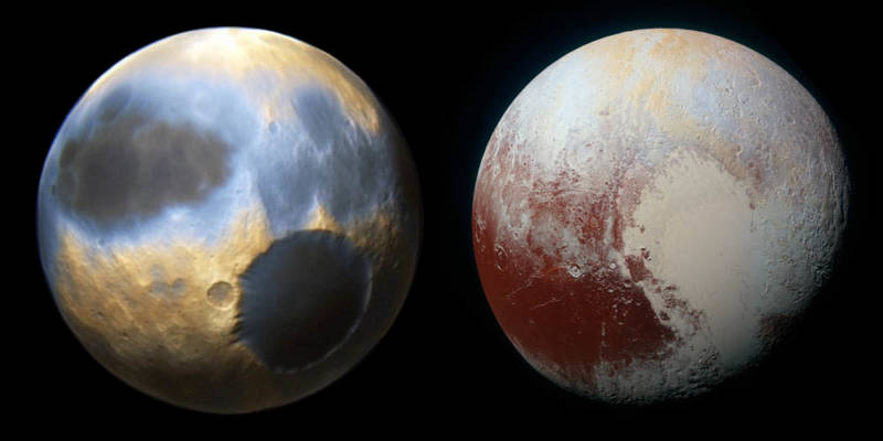 Pluto, before and after New Horizons. Artist concept (left), New Horizons (right).