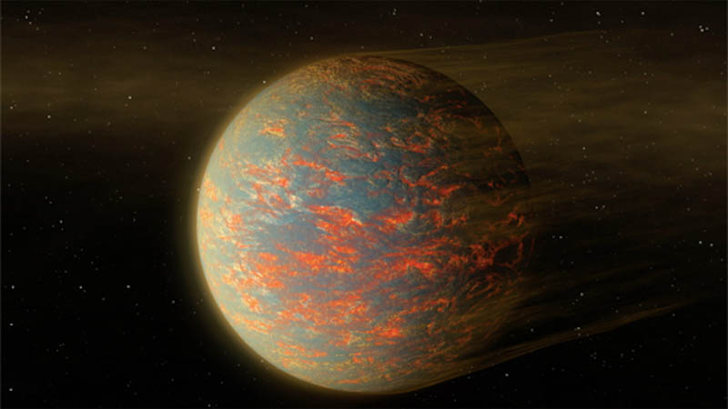 Artist concept of the super-Earth exoplanet 55 Cancri e, which may be a world of molten lava seas.