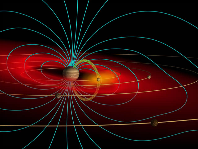 Depiction of Jupiter's vast and powerful magnetic field enveloping its system of moons, and beyond. The red zone represents belts of radiation (high-speed electrically charged atoms) trapped within the magnetic field.