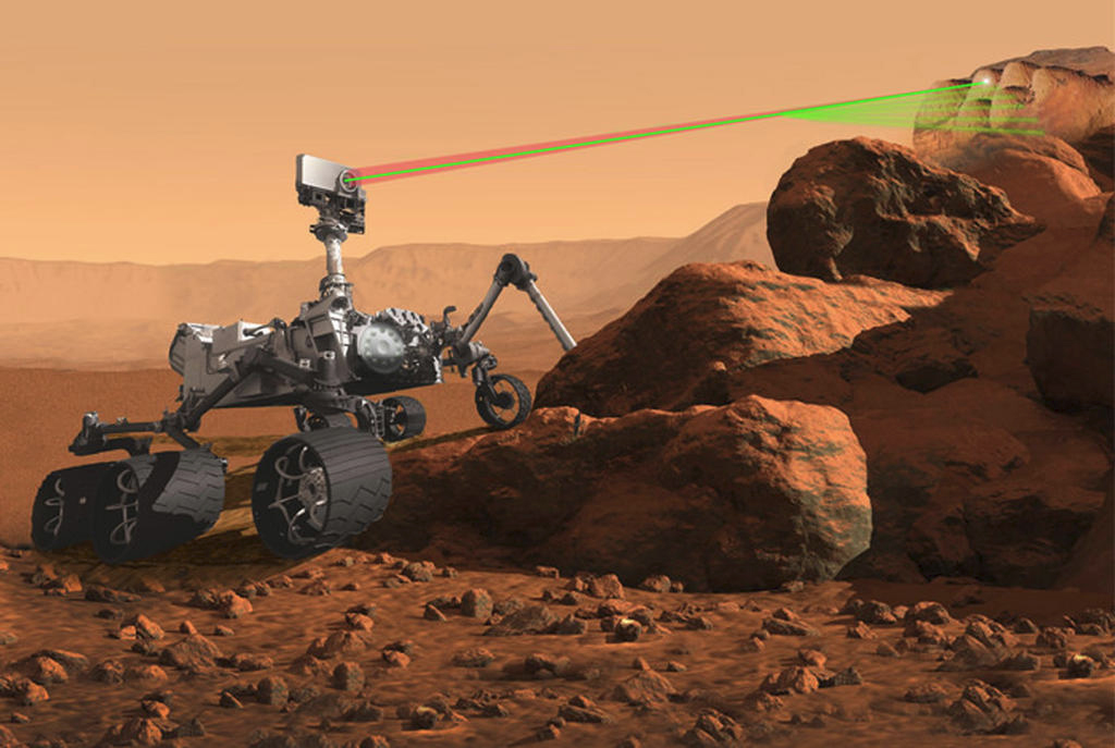 Illustration of the Mars 2020 rover using its remote analysis laser/spectroscope system to study rock chemistry.
