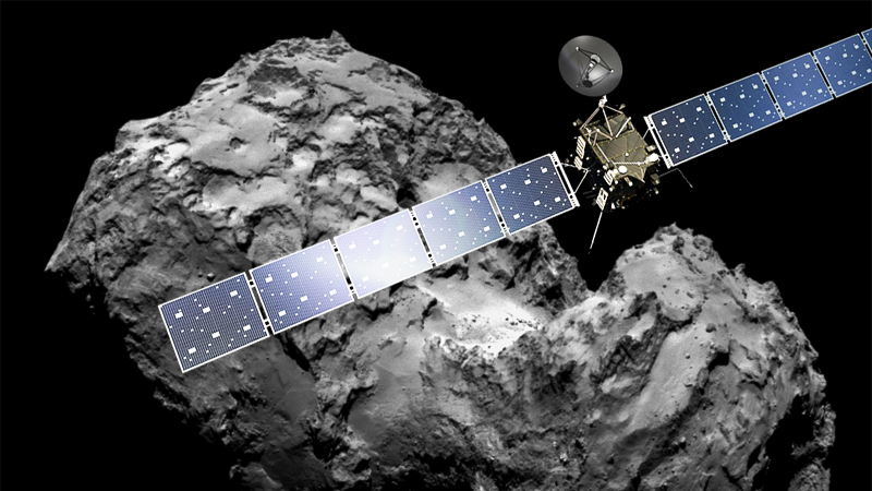 Artist concept of the Rosetta spacecraft and image of comet 67P/Churyumov-Gerasimenko taken by Rosetta.