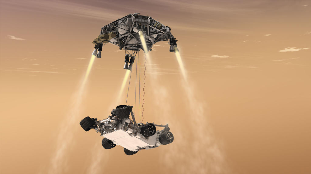 "Mars 2020 and Curiosity both employ a rocket-driven ""sky crane"" system to land on Mars."