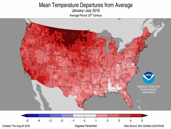 How temperatuers across the contiguous U.S. have compared to the 20th century average through July.