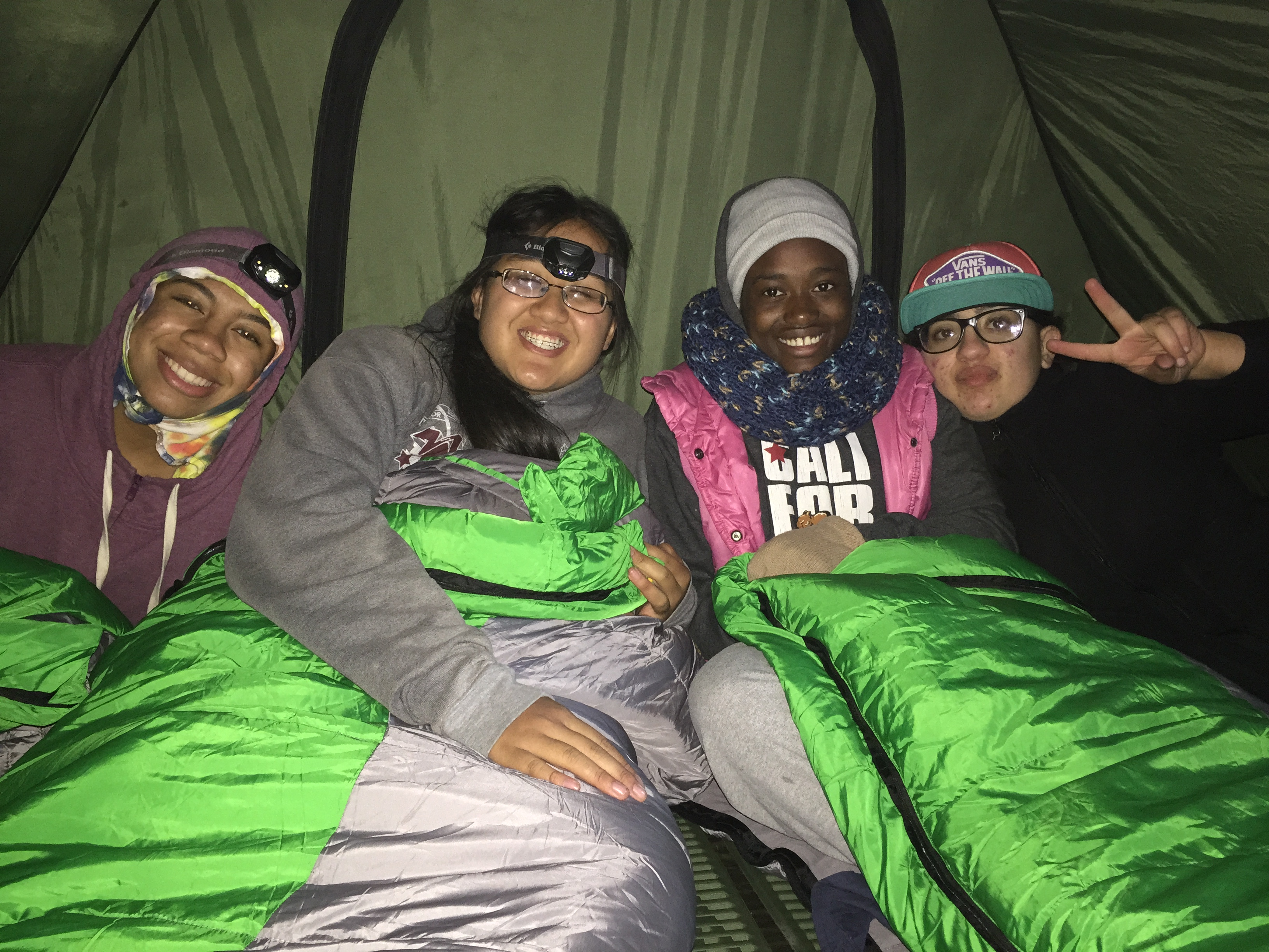 Youth intership camping trip at Point Reyes, CA. From left to right: Lurleen Frazier, Sarah Hoang, Olive Tambou, Stela Zouradakis