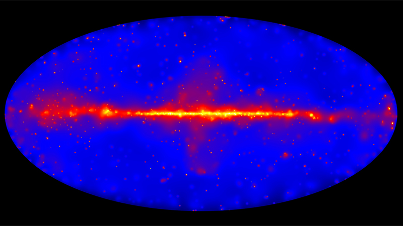 All-sky map of gamma ray sources produced by the Fermi telescope.