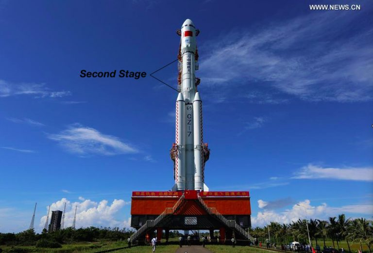 The Chinese Chang-Zheng-7 (Long March) rocket on launch pad, highlighting its second stage.