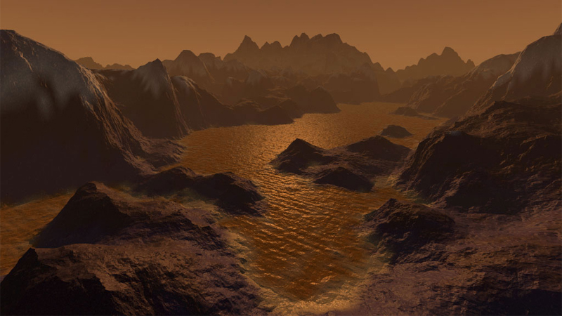 Artist concept of a body of liquid methane and ethane in a canyon on Saturn's moon, Titan.