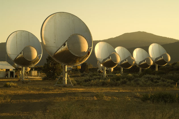 Radio telescope dishes of the Allen Telescope Array at the Hat Creek Radio Observatory 290 miles northeast of San Francisco