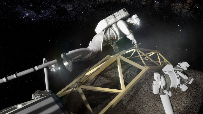 An astronaut in this artist's conception prepares to investigate the asteroid boulder. But proponents of the NASA mission say that instead of sending humans to an asteroid, it might be easier and quicker to bring the asteroid to the humans.