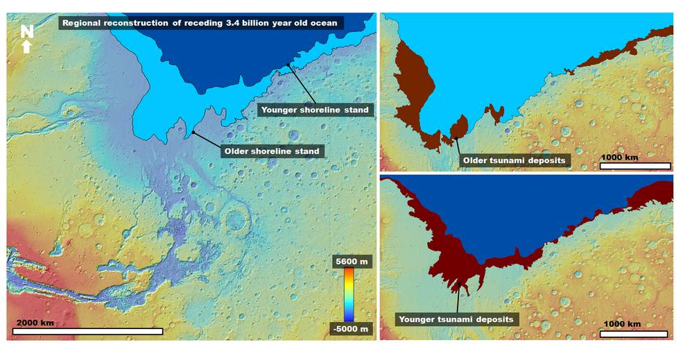 Color coded maps of paleo-shorelines on Mars shaped by great tsunamis in ancient ocean.