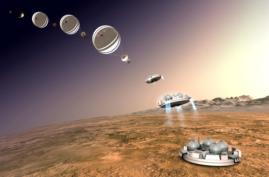 Artist depiction of the planned landing sequence of the Schiaparelli lander.