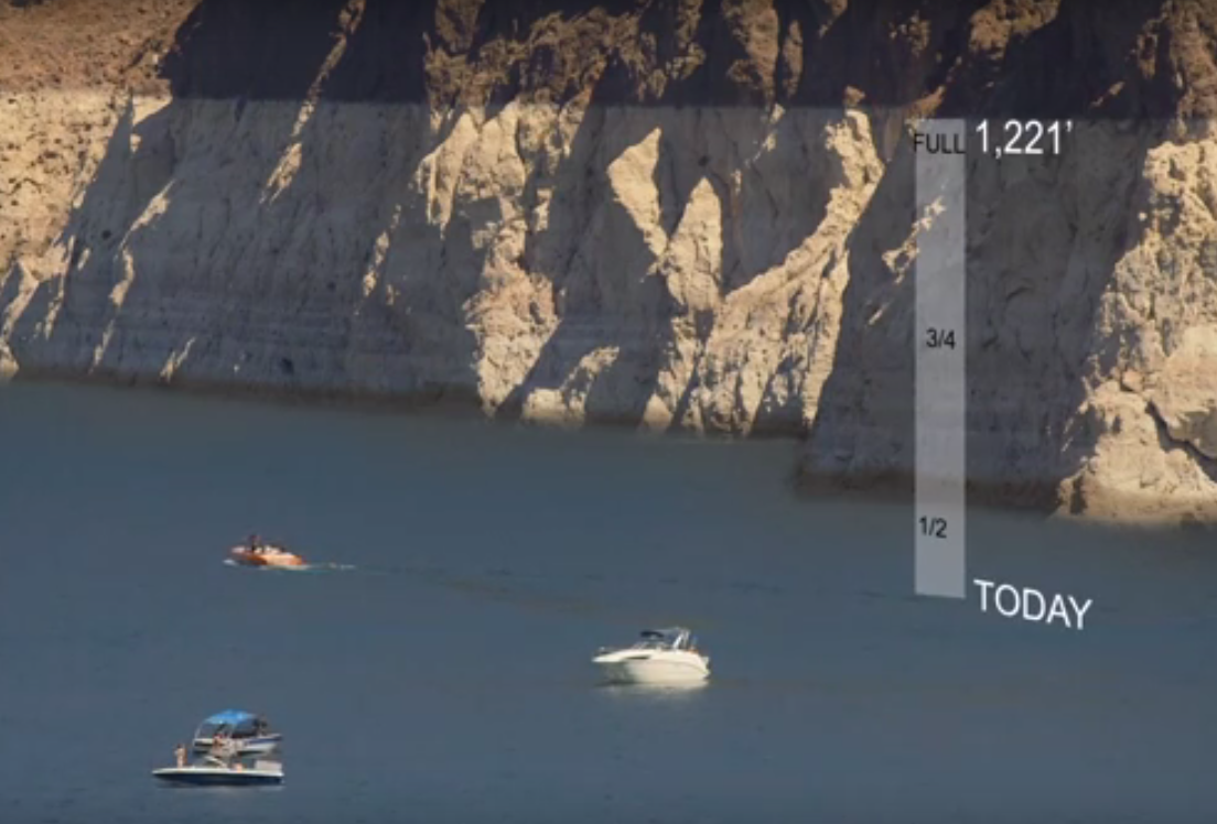 Graphic shows the plunging level of Lake Mead, the nation's largest man-made reservoir and key to the Colorado system.