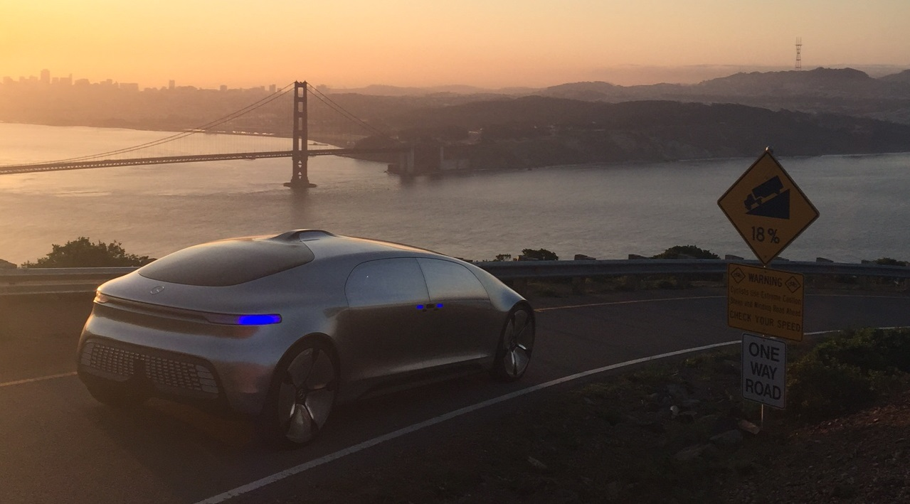 The Mercedes Benz F 015 self-driving car at the top of Conzelman Road on the morning of March 3, 2015.
