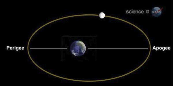 The Moon's orbit around the Earth is an ellipse, with one end closest to the Earth (perigee) and the other end farthest away (apogee). The elongation of the ellipse in this diagram is exaggerated.