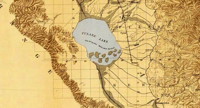 The historic Tulare Lake, as shown on a map from 1873, was once the largest natural freshwater lake west of the Mississippi River. Some advocates believe that allowing periodic floods to revive the lake could ease water shortages in the San Joaquin Valley. D