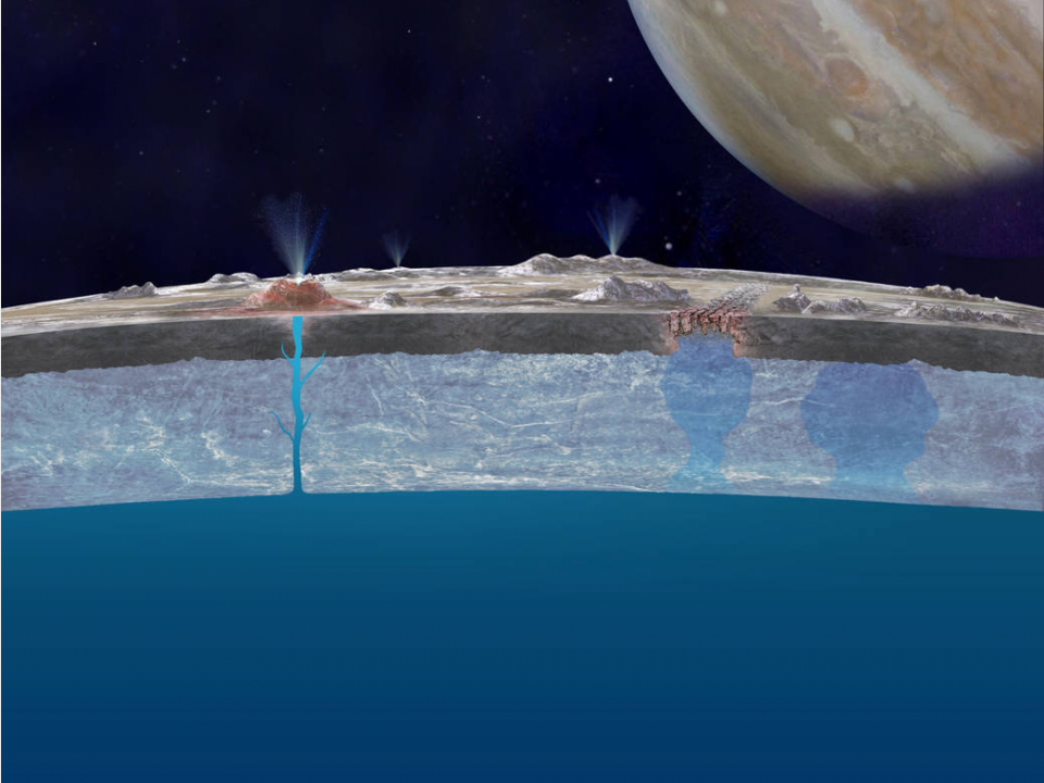 Artist concept showing a cross section of Europa's icy crust floating atop the suspected water, with crevasses spewing the ocean waters through the surface.