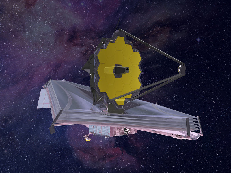 An artist's rendering of the James Webb Space Telescope. The telescope's silver, umbrella-shape heat shield will be the size of a tennis court, engineers say. It's crucial to keep cool the instruments that detect infrared light from distant stars. Northrop