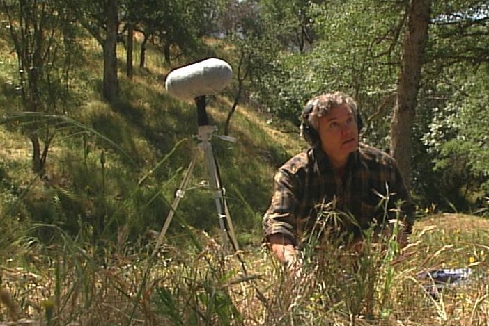 Bernie Krause recording soundscapes at Sycamore Springs, Sequoia-Kings Canyon National Park.