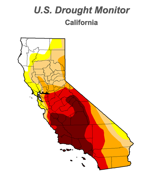 "Much of California remains in official drought. The red and dark-red areas indicate ""extreme"" and ""exceptional"" drought conditions, respectively."
