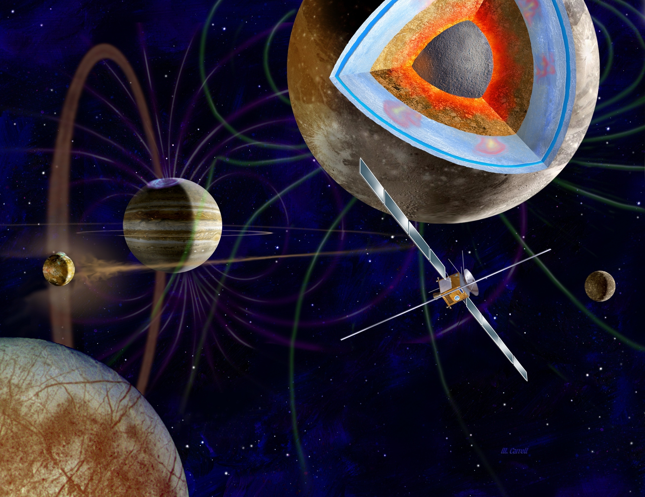 "Artist concept of the European Space Agency's ""JUICE"" mission to explore Jupiter's icy moons Ganymede, Callisto, and Europa."