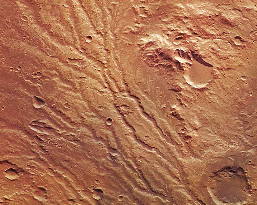 Image of an ancient flood drainage system on Mars captured by Europe's Mars Express orbiter.
