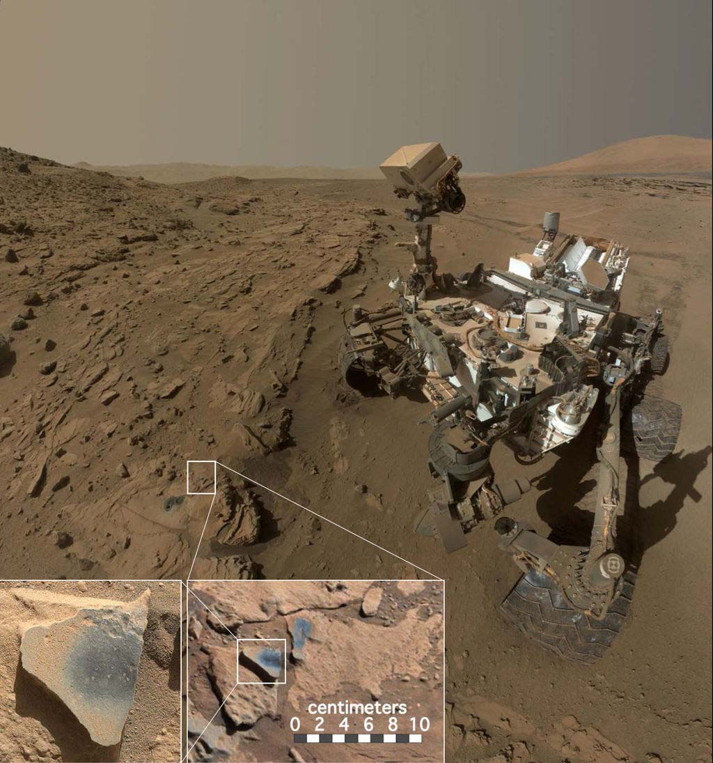 NASA's rover Curiosity at a site named Windjana, where it detected manganese oxide in rocks that suggest Mars' atmosphere once contained more oxygen.