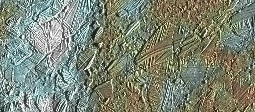 "Image of ""chaos terrain"" in Europa's icy crust--visual evidence of the strong possibility that a deep watery ocean exist beneath."
