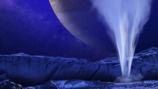 Artist concept of a water plume erupting from under Europa's icy crust.