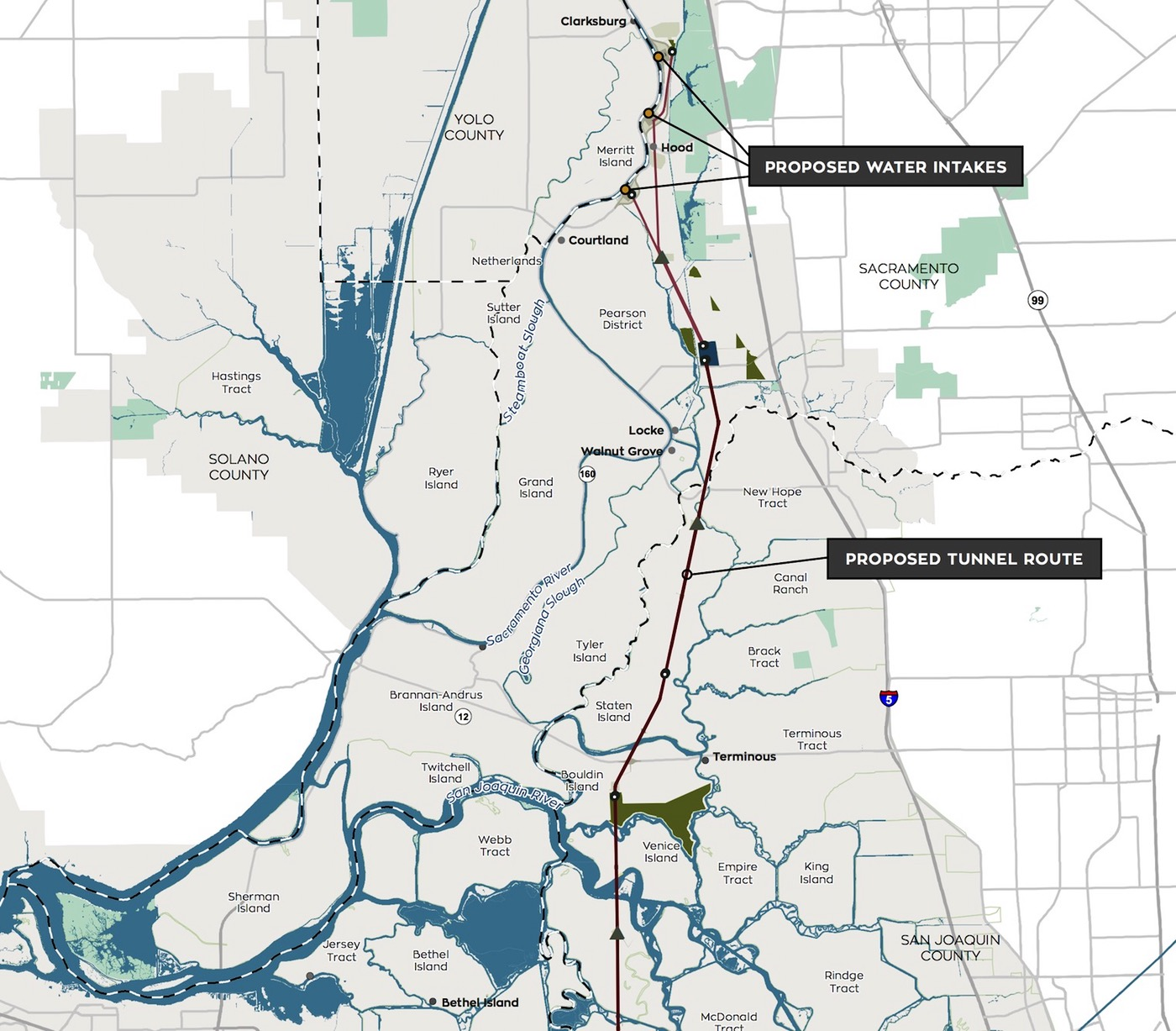 This map of the California WaterFix project shows part of the route for the proposed twin water diversion tunnels across the Sacramento-San Joaquin Delta, along with intakes and some other facilities.