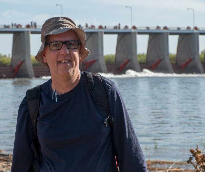 John Fleck at Morelos Dam, at start of pulse flow.