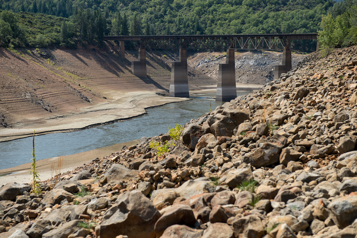 Low water levels in Lake Shasta on August 25th, 2014 during the state's fourth year of drought.