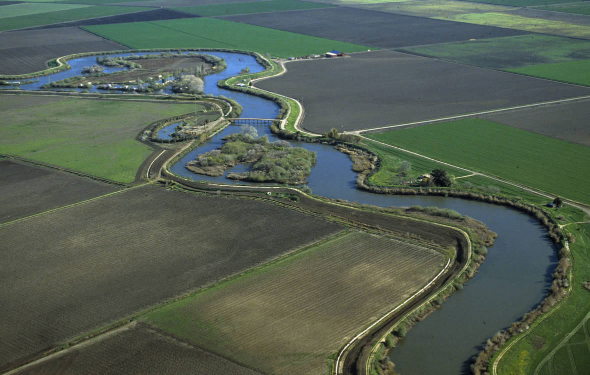 Aerial view of the Sacramento-San Joaquin River delta. California Department of Water Resources