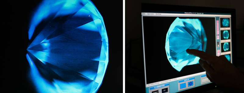 Weinstein examines the internal structure of a mined diamond (left) against a lab-grown diamond.
