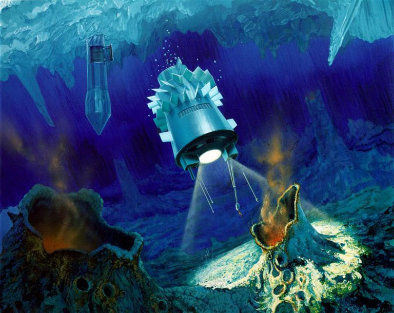 Artist depiction of a robotic submarine probe exploring the floor of Europa's ocean.