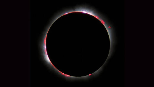 Total Solar Eclipse of 1999. With the Sun's photosphere blocked by the Moon, the much fainter solar atmosphere shines in a breathtaking ring of fire.