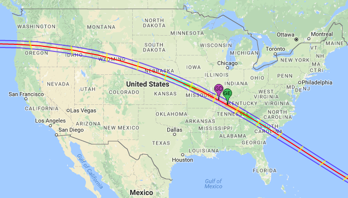 Lines marking the path of the upcoming Total Solar Eclipse on August 21, 2017. The green marker labeled GE is the point of Greatest Eclipse. The magenta marker labeled GD is the point of Greatest Duration.